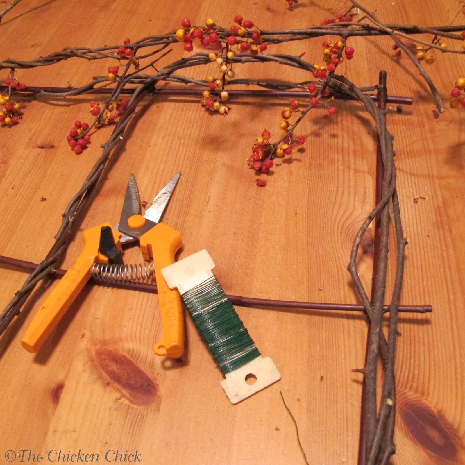 Wish i could find or buy bittersweet branches in our area don t - I Wired Together Two Small Bunches Of Pine Needles With Branches From Our Own Christmas Tree What At Least I Cut Them From The Back