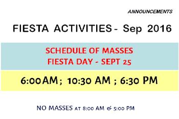 Fiesta Day (Sept 25) Mass Schedule