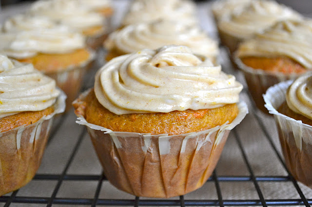 Pumpkin Carrot Cupcakes  | www.motherthyme.com