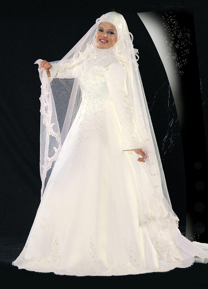 Modern muslim wedding dresses design with veil wedding for Muslim wedding dress photo