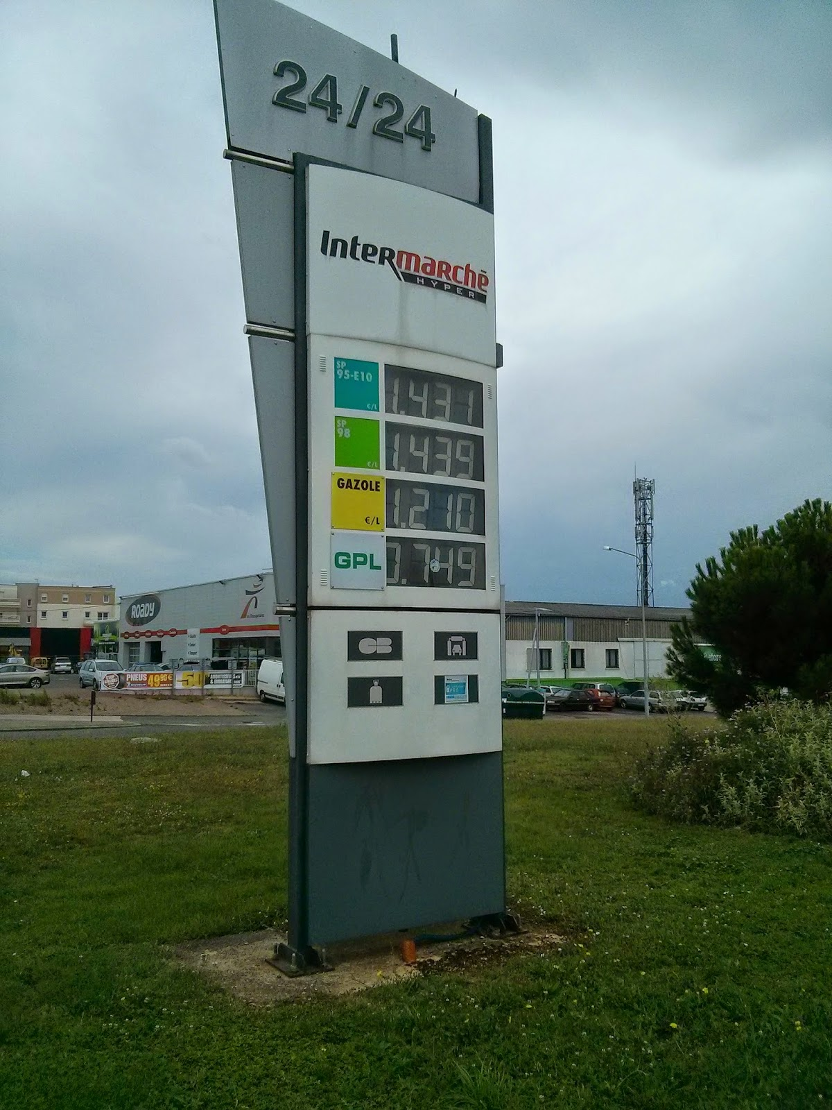 photo of the prices for petrol and diesel at the start of August 2014