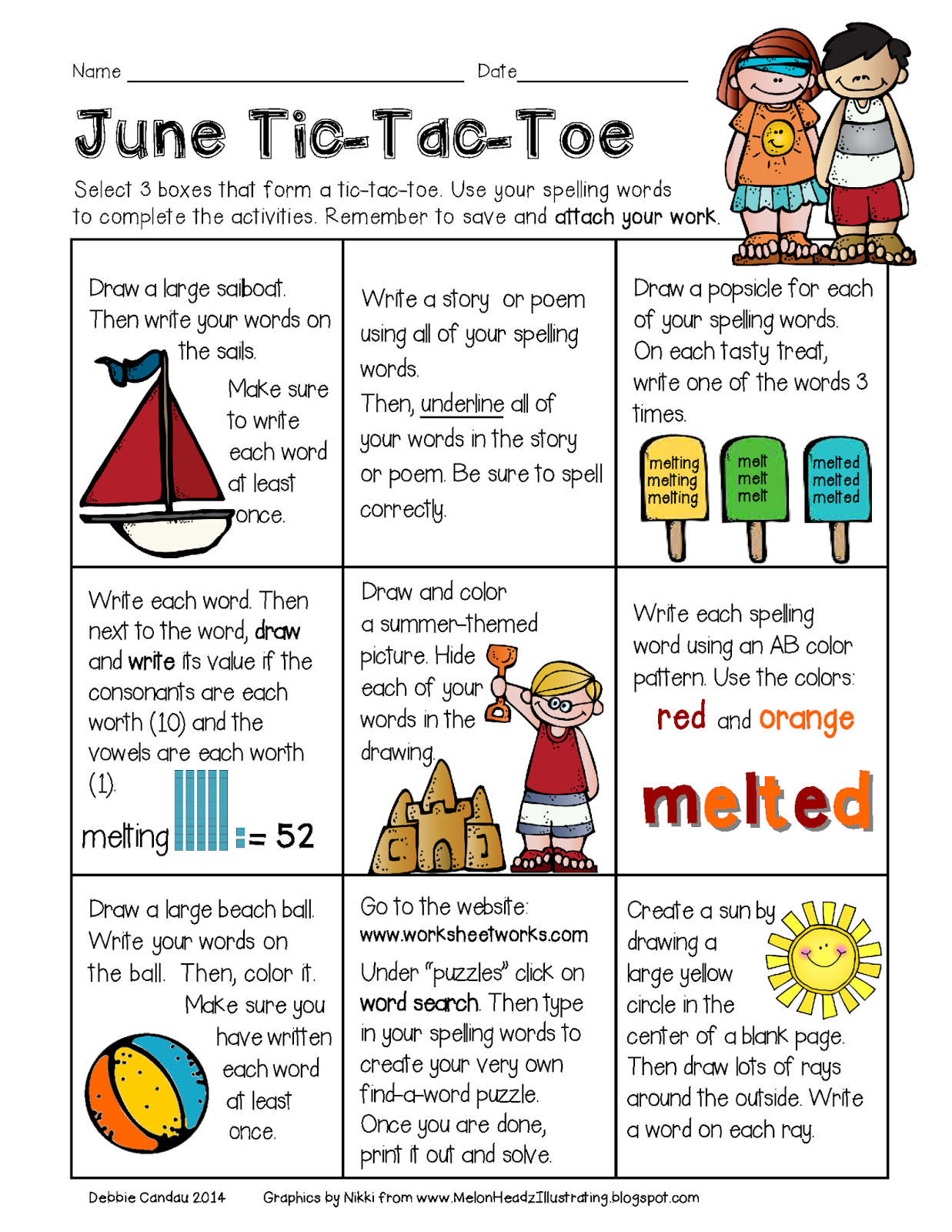 Sailing through 1st grade june tic tac toe for Tic tac toe homework template