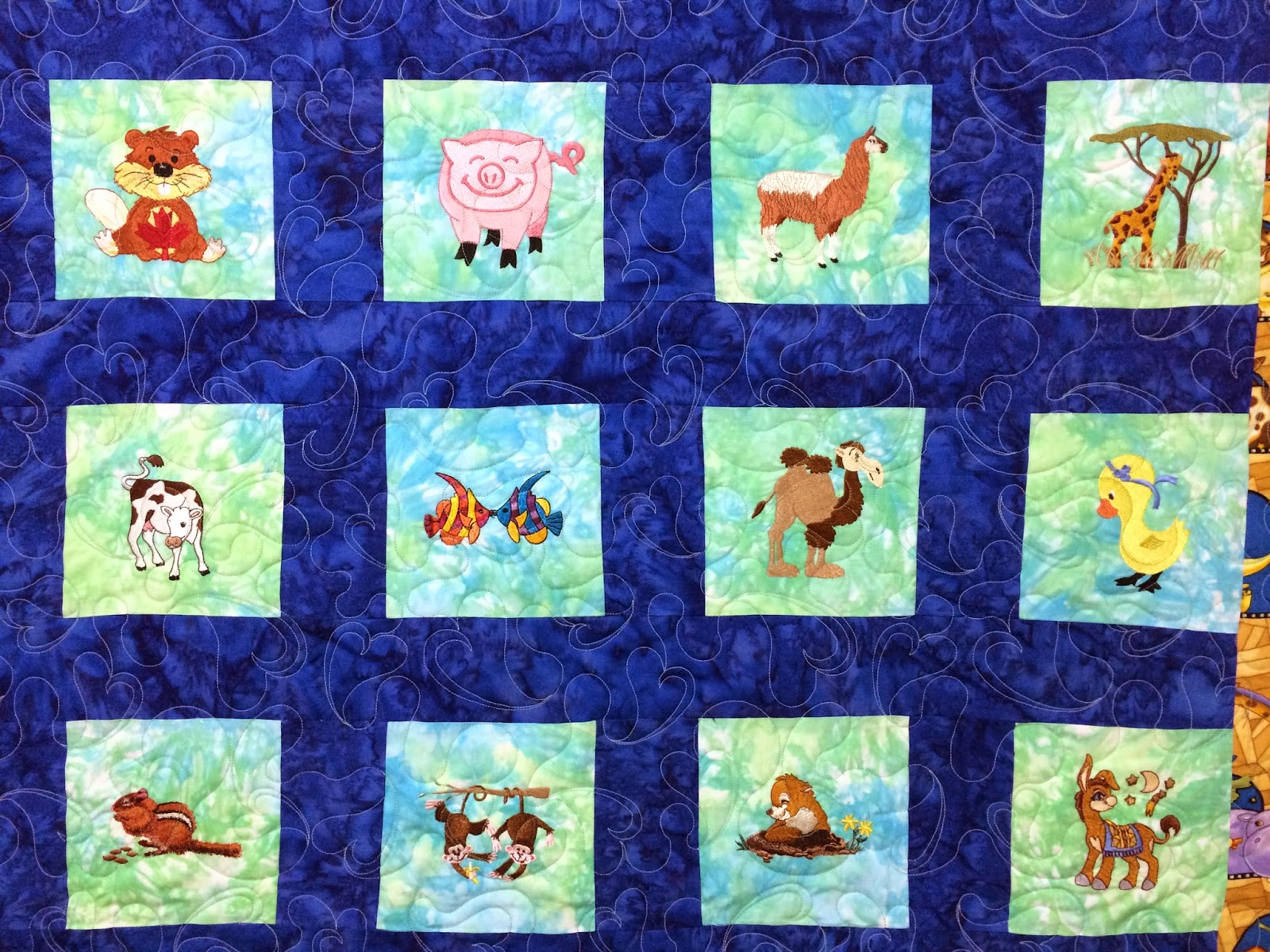 Pamela Marshall Embroidered Animal Quilt