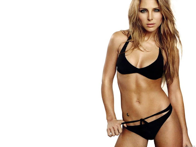 Elsa Pataky sexy in black swimwear  fashion