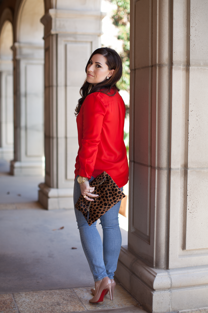 christian louboutin pigalle pumps, red jcrew blouse, leopard clutch