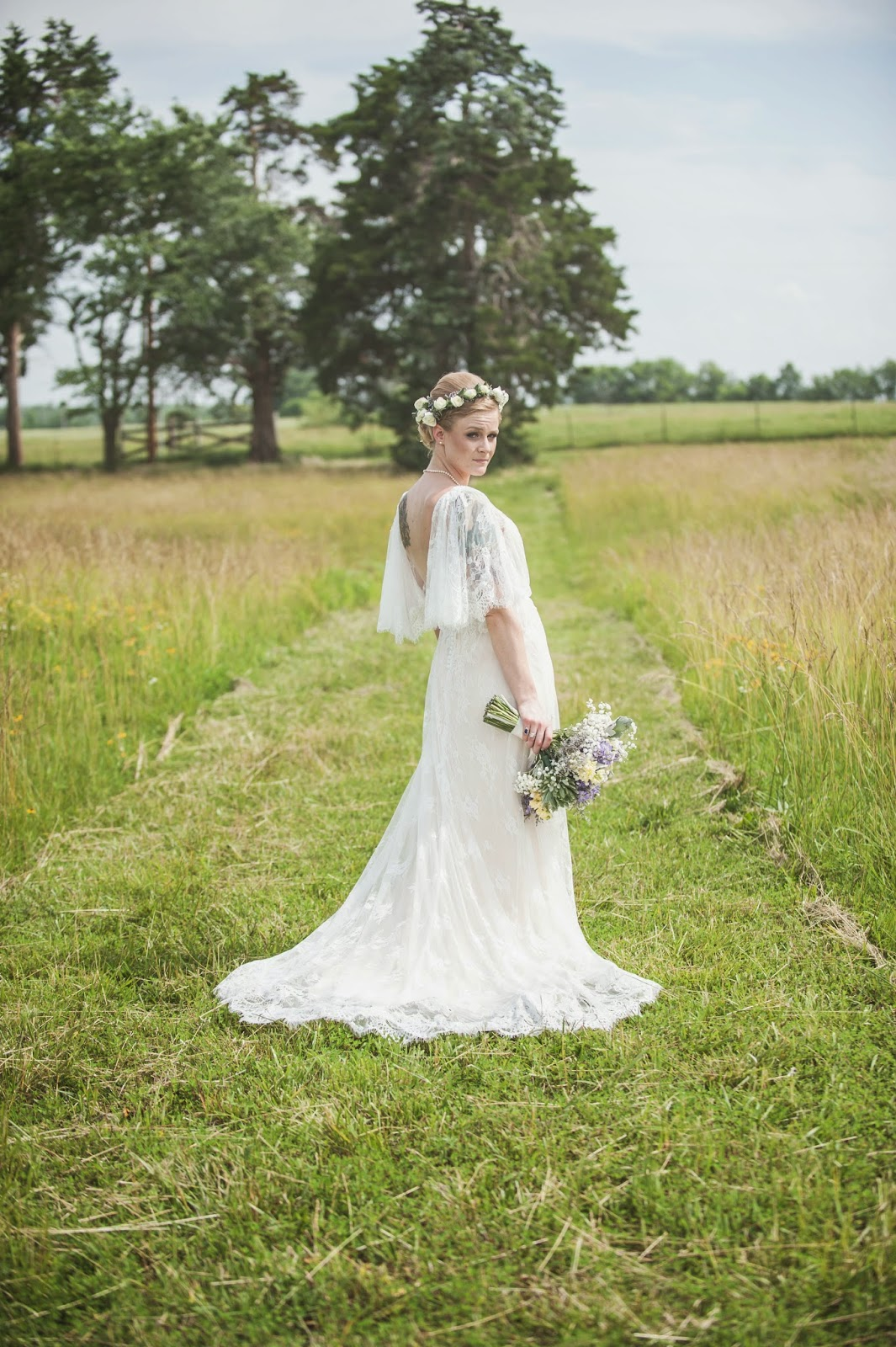 Vintage lace wedding gown with open back and  flower crown