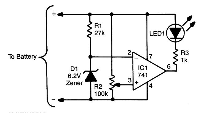 dimmable low battery indicator circuit diagram