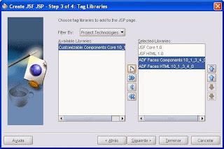 asistente creacion pagina jsf. tags