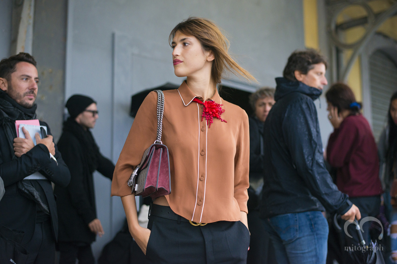 French Blogger Jeanne Damas at GUCCI 2016 Spring Summer show during Milan Fashion Week MFW