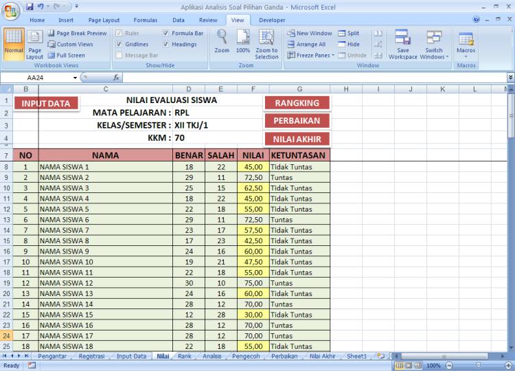 Ketuntasan - Analisis Soal Pilihan Ganda dengan Microoft Excel