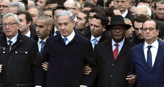 Israel's Prime Minister Netanyahu seems to have muscled his way to the front of the march against terrorism in Paris.
