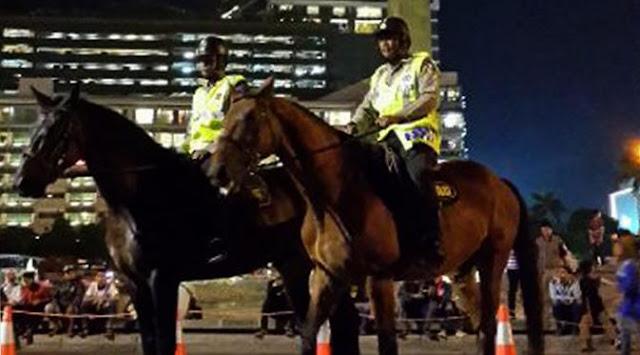 Ternyata Kuda-Kuda Ini Juga Ikut Serta Dalam Mengamankan Perayaan Tahun Baru Kemaren