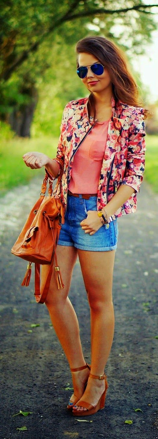 See more Denim Shorts Top Floral Blazer