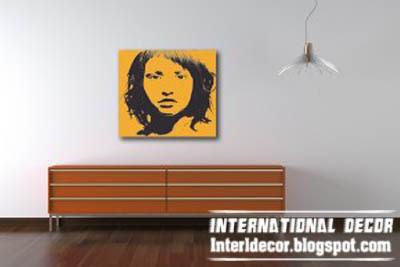 Orange pop art painting, modern pop art painting colors