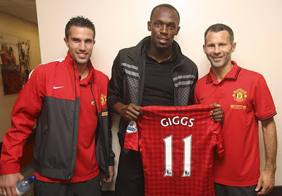 Robin Van Persie-Usain Bolt-Ryan Giggs Man Utd2012