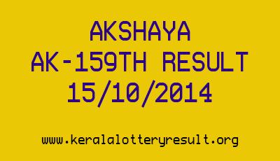 Akshaya AK 159 Kerala Lottery Result 15-10-2014