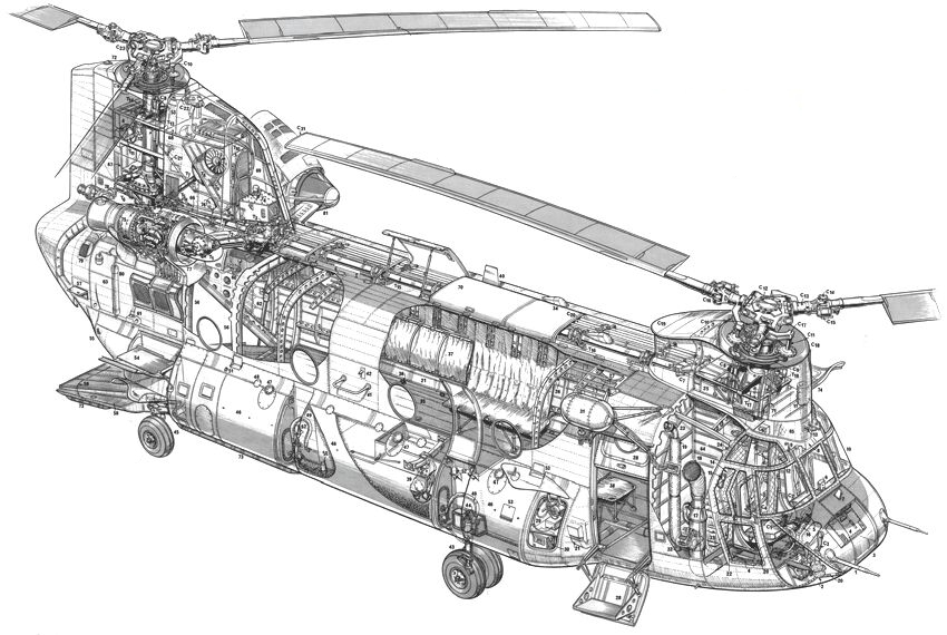 Line Drawing Helicopter : Chinook helicopter drawing vehicles wall