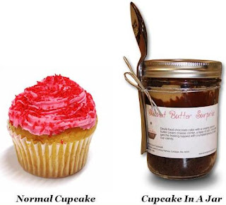 Normal cup cake and a cup cake in a jar. 