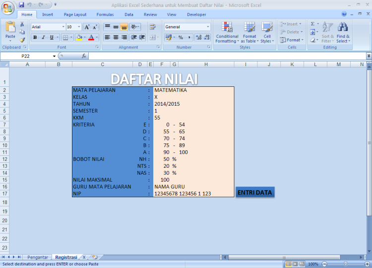 Aplikasi Sederhana untuk Membuat Daftar Nilai dengan Microsoft Excel
