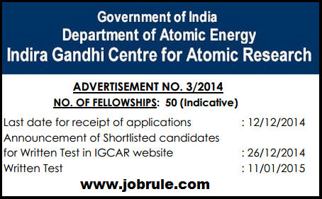 IGCAR Kalpakkam 50 Junior Research Fellowships -JRF (Homi Bhabha National Institute-HBNI) December 2014