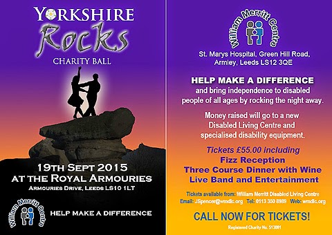 William Merritt fund raising poster: Yorkshire Rocks Charity Ball. 19th September 2015 at the Royal Armouries. Two silhouettes dance on a rock at dusk.