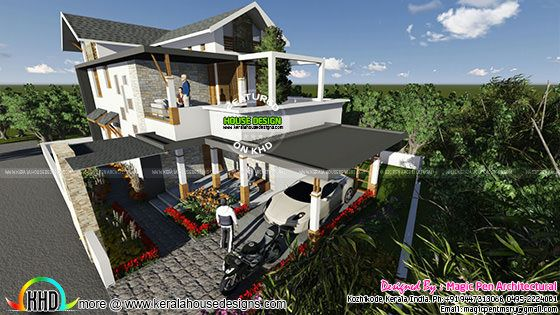 Slope Roof Mix Contemporary Home Kerala Home Design And
