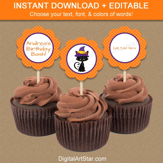 orange halloween cupcake toppers with cat