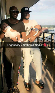 2face Idibia with Paul Okoye and his new born twins