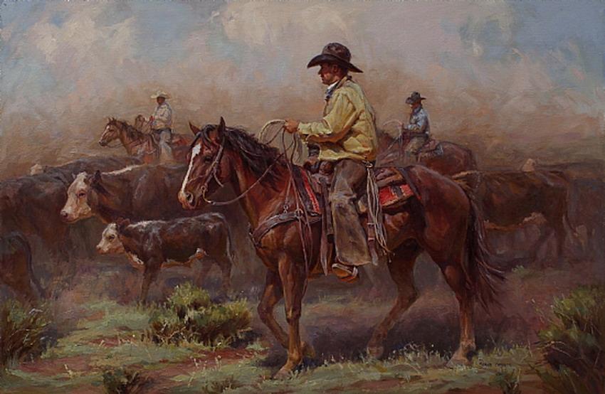 Im genes arte pinturas vaqueros en paisajes pinturas al - Cuadros de vacas ...