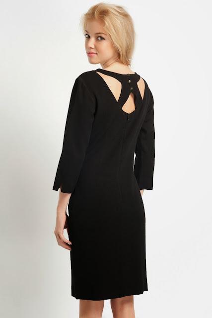 klasik kesim siyah elbise iş ve ofis elbisesi