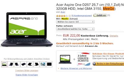 Acer Aspire One D257 MeeGo Atom N570