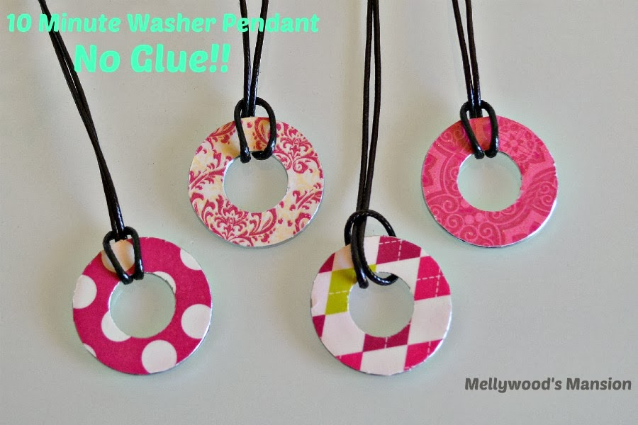 kids crafts-No Glue 10 minute quick craft Washer Pendant