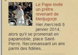 Medjugorje actualités Le Pape invite un prêtre revenant de Medjugorje