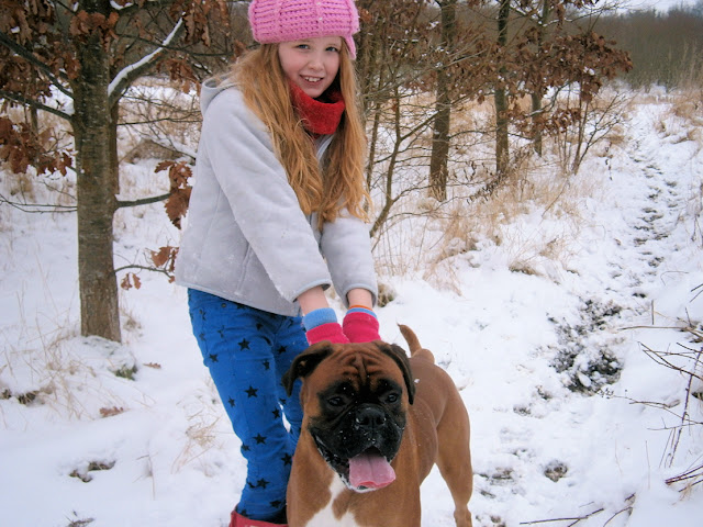 boxer dog and young girl in the snow