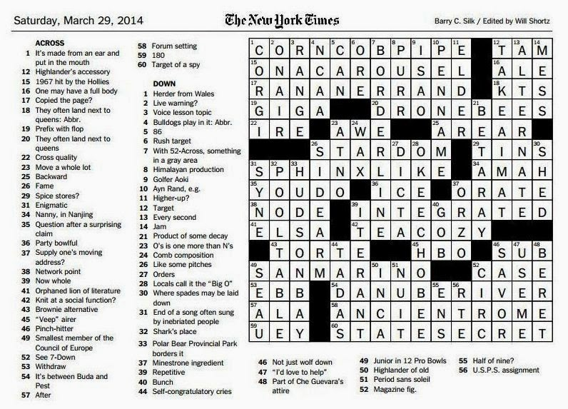 The New York Times Crossword in Gothic: 03.29.14 — Sphinx