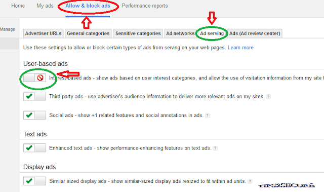 Increase Adsense CTR by deactivating interest based ads