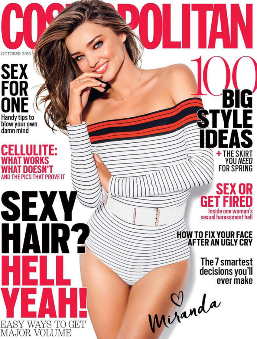 Miranda Kerr flaunts toned figure in striped bodysuit for Cosmopolitan Australia