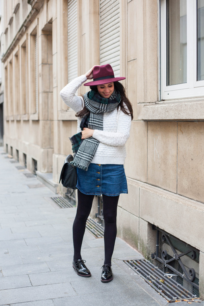 outfit: layering with wide brim hat and oversized scarf
