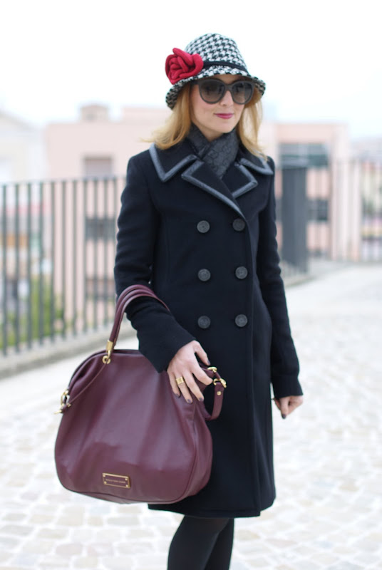 Balenciaga coat, pied de poule hat, Marc by Marc Jacobs bag