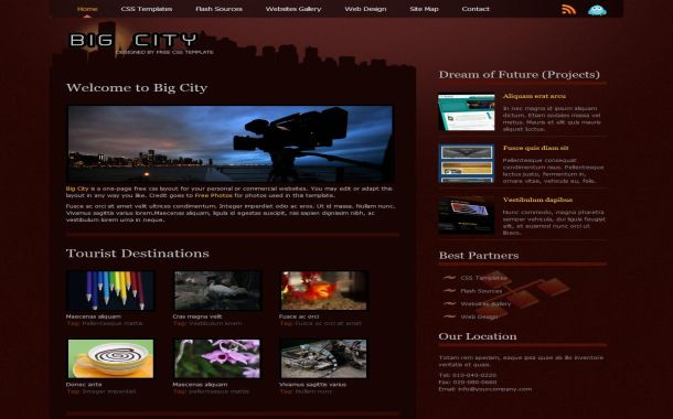 Free HTML Dark Brown Red CSS Website Template