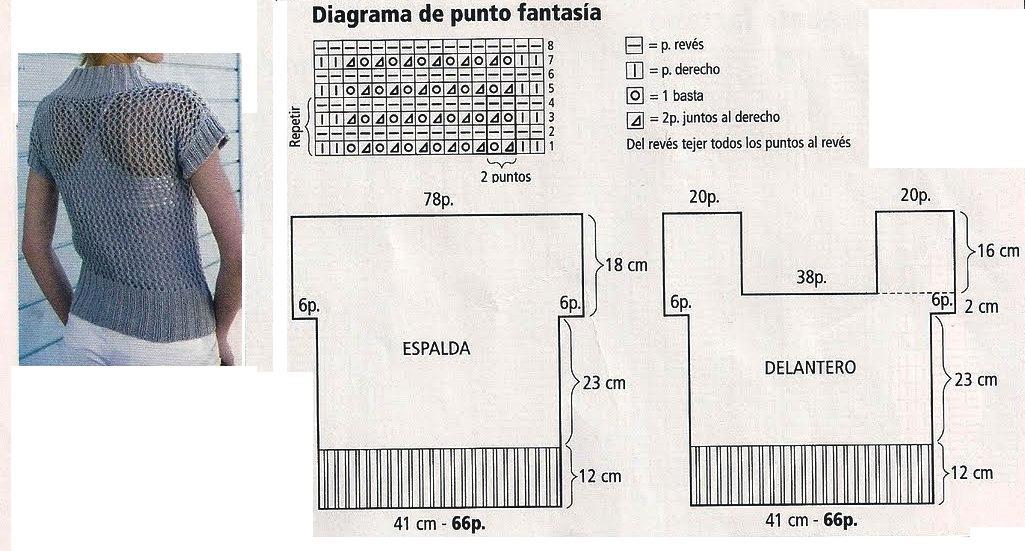 Patrones de Tejido Gratis - Blusa gris tejida en punto red