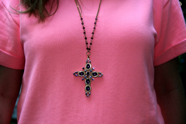 Pink sweater from Zara and silver cross necklace