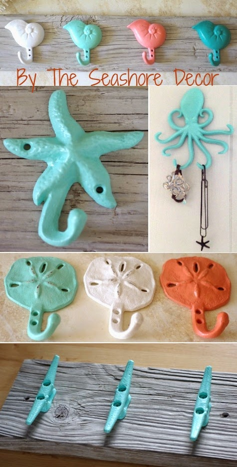 painted iron hooks with a coastal and nautical theme
