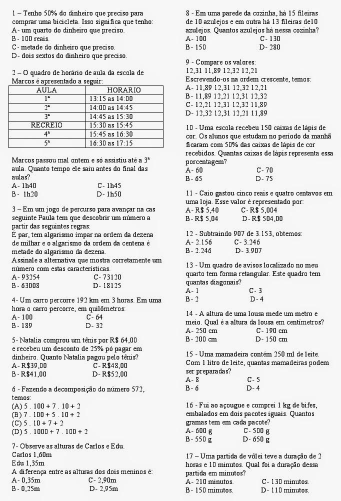 Top CLUBE DA COR ATIVIDADES ESCOLARES : EXERCÍCIOS DE MATEMÁTICA PARA  LK94