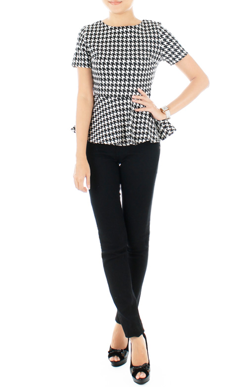 Structured Houndstooth Peplum Top