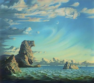 """""""I Saved My Soul"""", quadro de Vladimir Kush. Paisagem com rochedos à beira-mar e nuvens no céu. Os rochedos formam a imagem de um leão e as nuvens formam a imagem de um cordeiro. Um animal olha para o outro."""