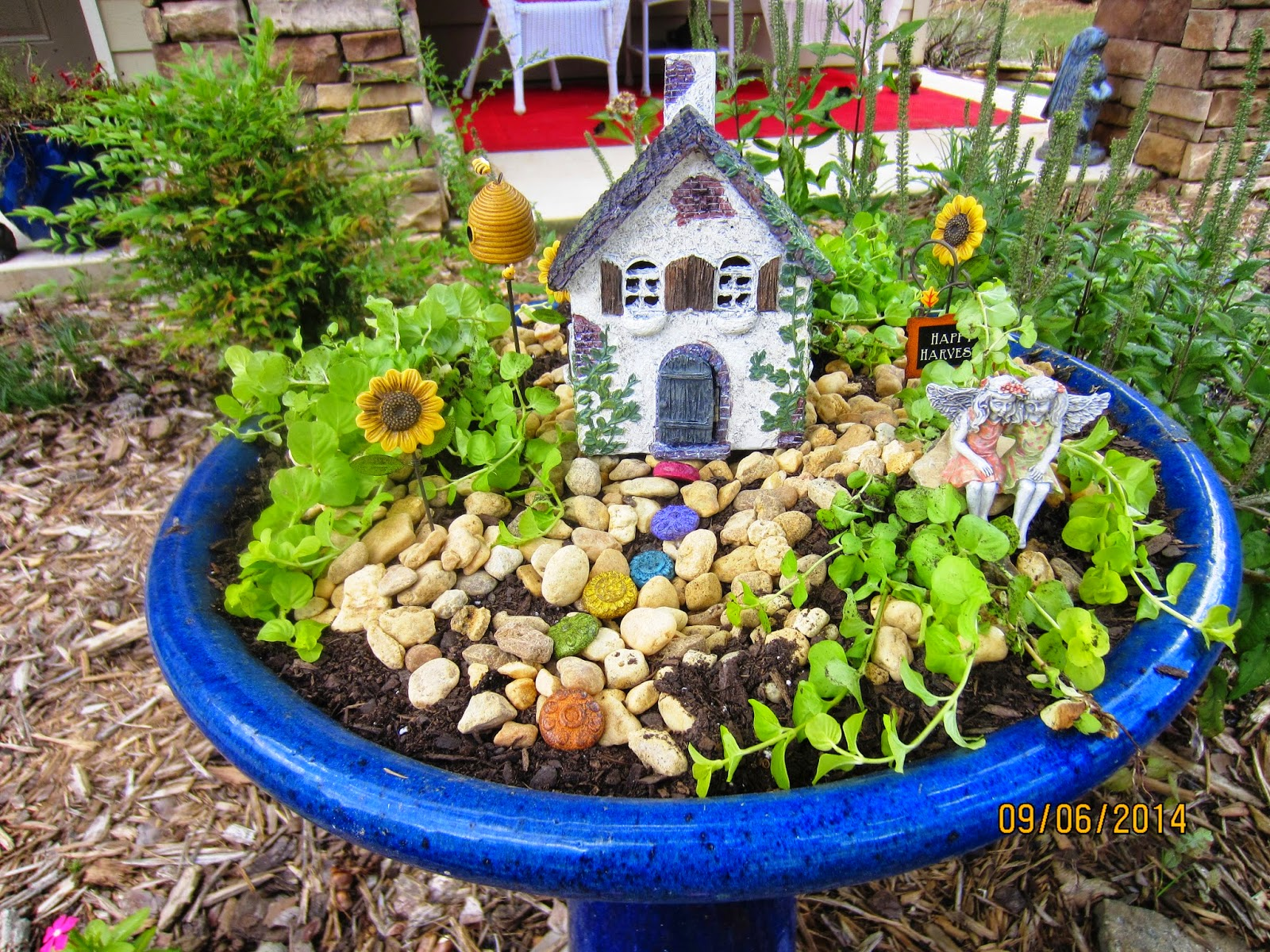 After Putting Gravel In The Bottom Of The Bird Bath, I Added Dirt And Some  Small Plants.