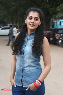Tapsee Pannu Pictures in Skinny Jeans at Maranthen Mannithen Platinum Disc Launch ~ Celebs Next