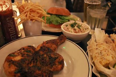 Grillshack burger, Grillshack chicken, Grillshack corn