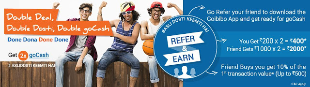 Goibibo.com Rs 2000 goCash with each new signup (Goibibo App) and save upto Rs 5000 on each booking